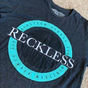 Young & Reckless dark grey graphic T-shirt men med